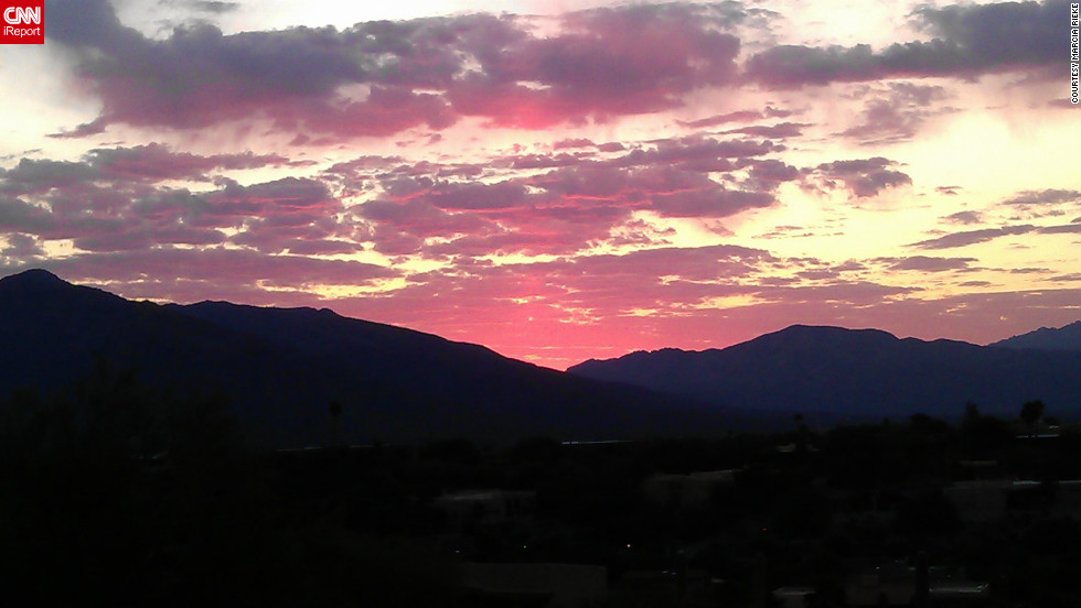 "Marcia Rieke always has her phone with her -- an HTC Sensation -- but doesn't often use it to take pictures. She <a href=""http://ireport.cnn.com/docs/DOC-845505"">captured this sunrise</a> from her balcony in Tucson, Arizona."