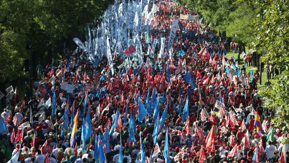 Spanish workers take to the streets to demonstrate against the government