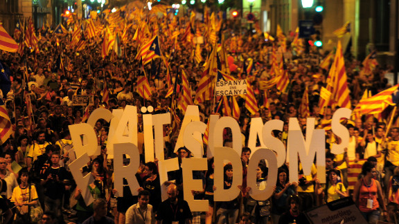 Supporters of independence for Catalonia demonstrate on September 11, 2012 in Barcelona to mark the Spanish region