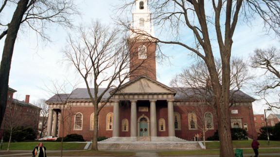 People walk around Harvard Universitys main campus.