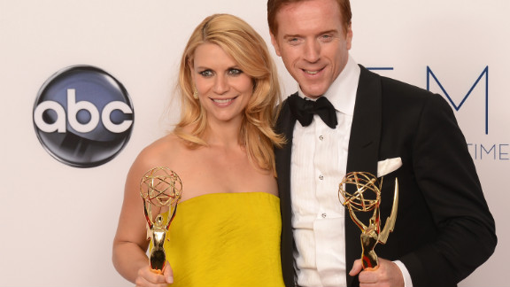 """Claire Danes and Damian Lewis take home Emmys for best lead actress and actor in a drama for """"Homeland"""" at the 64th annual Primetime Emmy Awards on Sunday night, September 23. The psychological thriller from Showtime also won the award for top drama."""