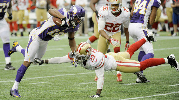 Percy Harvin of the Minnesota Vikings avoids a tackle by Chris Culliver of the San Francisco 49ers during the fourth quarter Sunday at the Hubert H. Humphrey Metrodome in Minneapolis.