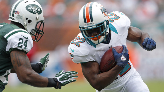 Reggie Bush of the Dolphins runs against the Jets