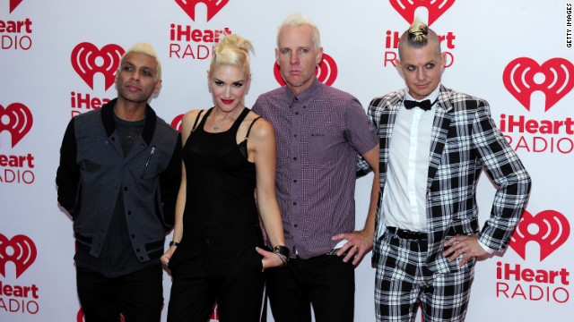 No Doubt's Tony Kanal, Gwen Stefani, Tom Dumont and Adrian Young attend the 2012 iHeartRadio Music Festival in Las Vegas.