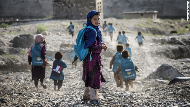 Children walk to school Monday in Afghanistan, where girls are often violently targeted by people who oppose their education.