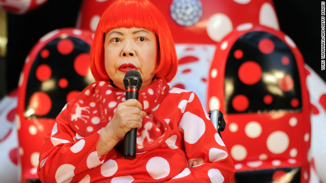 Japanese avant-garde artist Yayoi Kusama answers questions during a press preview for an 32-hour art event at Roppongi shopping district in Tokyo on March 22, 2012. AFP PHOTO/Toru YAMANAKA (Photo credit should read TORU YAMANAKA/AFP/Getty Images)