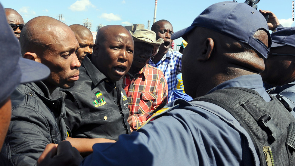 South African police bar Malema from addressing striking workers at the strife-torn Lonmin platinum mine in Marikana on September 17. In August, 34 workers were killed at the mine after protests turned violent.