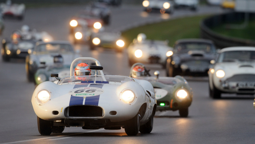The Jaguar Lister Costin driven by Britain's Alex Buncombe in a race devoted to cars built between 1962 and 1965 during the Le Mans classic on July 8, 2012 at Le Mans's racetrack, western France.