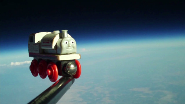 Dad sends son's toy train to space
