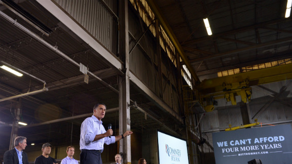 Romney speaks during a roundtable discussion on manufacturing at American Spring Wire in Bedford Heights, Ohio, on Wednesday.