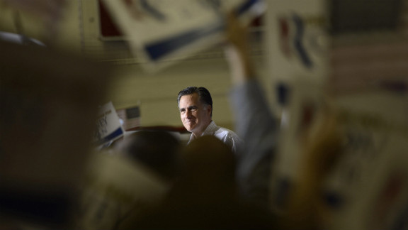 Romney delivers remarks during a campaign rally Wednesday at Westerville South High School in Westerville, Ohio.
