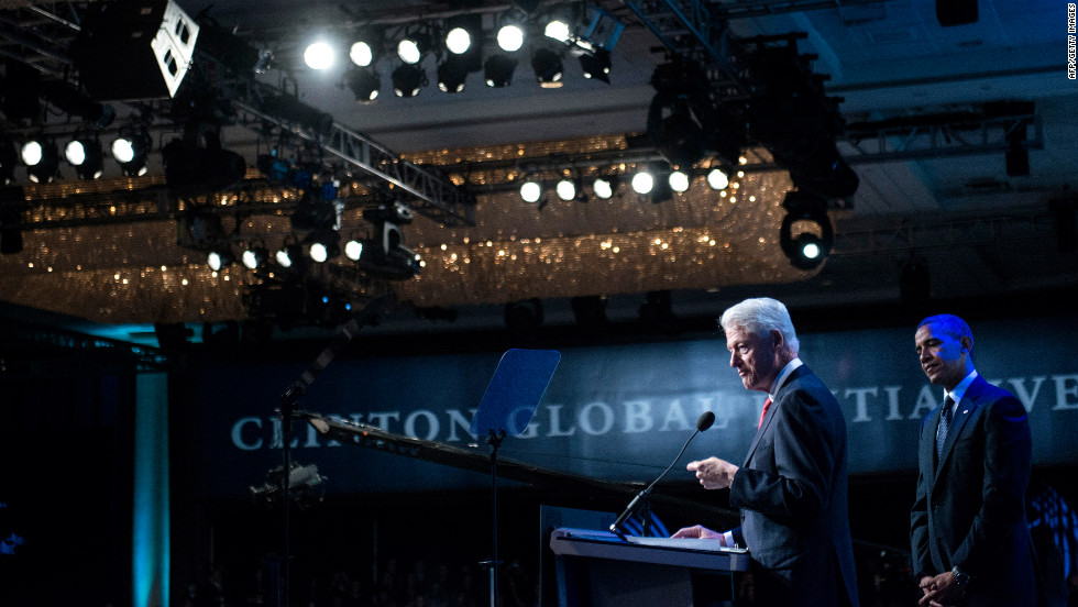 Former President Bill Clinton introduces Obama during the Clinton Global Initiative annual meeting in New York on Tuesday, September 25.
