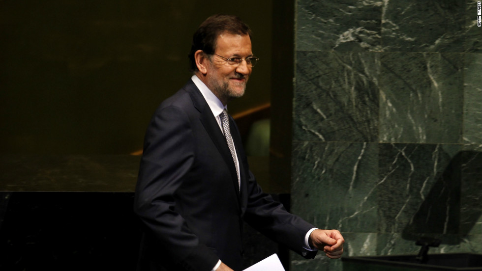 Mariano Rajoy Brey, President of the Government of the Kingdom of Spain, prepares to address the 67th UN General Assembly meeting on September 25, 2012 in New York City.
