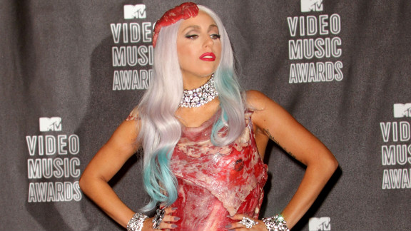 Lady Gaga dons her famous meat dress at the 2010 MTV Video Music Awards.