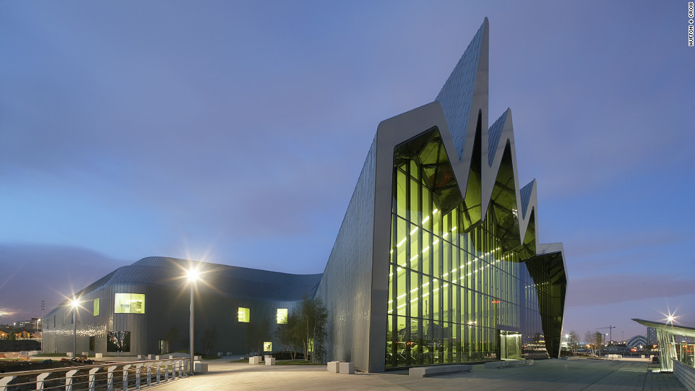 "Hadid also designed the <a href=""http://www.glasgowlife.org.uk/museums/our-museums/riverside-museum/Pages/default.aspx"">Glasgow Riverside Museum of Transport</a>, which flows low and long between the city and the waterfront, facing the Clyde river with a wave-shaped outline."