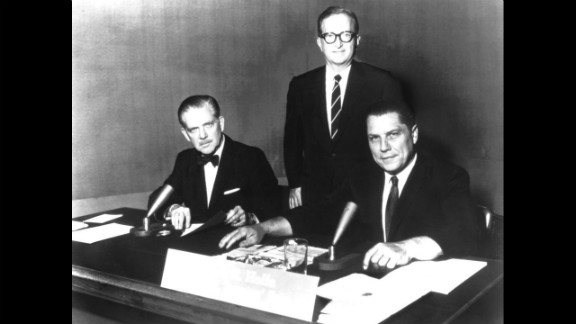 "From left, ""Meet the Press"" moderator Ned Brooks, Lawrence K. Spivak and Hoffa appear at an NBC studio."