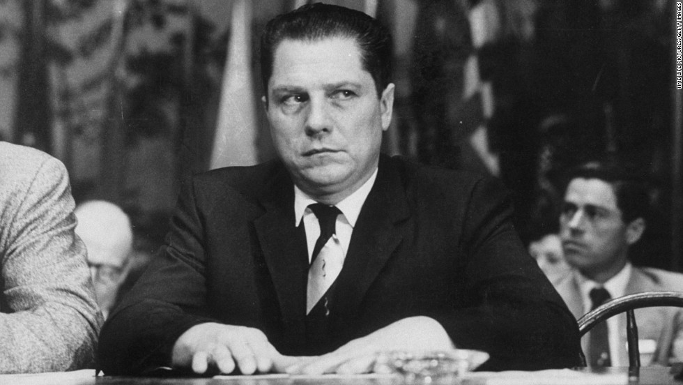 Hoffa appears at the Teamsters union convention in 1957, the year he first became union president.