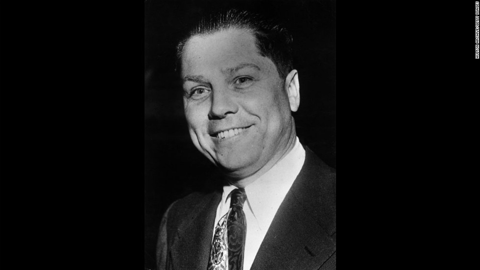 Nearly 40 years after his disappearance, former Teamsters boss Jimmy Hoffa, pictured circa 1955, remains among America's most famous missing persons. Authorities have been searching for the once powerful union boss since he vanished in 1975.