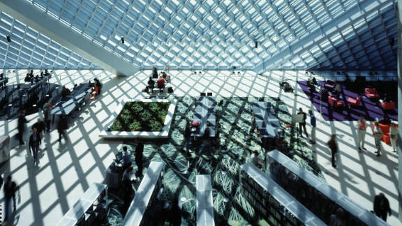 Its layers of glass encased in steel lattices let in abundant light.
