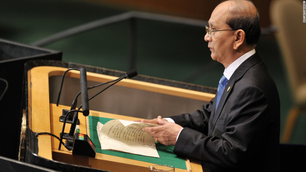 Thein Sein, president of Myanmar, speaks on Thursday.