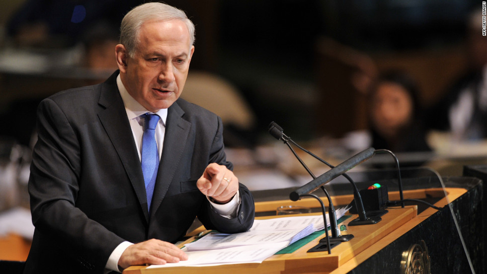 Netanyahu speaks during the 67th session of the United Nations General Assembly.