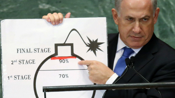 "Benjamin Netanyahu, prime minister of Israel, points to a graphic of a bomb and asks U.N. leaders to draw a ""red line"" on Iran's nuclear bomb plans on Thursday."