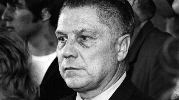 Hoffa at the Pittsburgh airport in 1971 on his way back to federal prison after being let out to visit his ailing wife. He was released from prison later that year on the condition he not resume union activity before 1980.