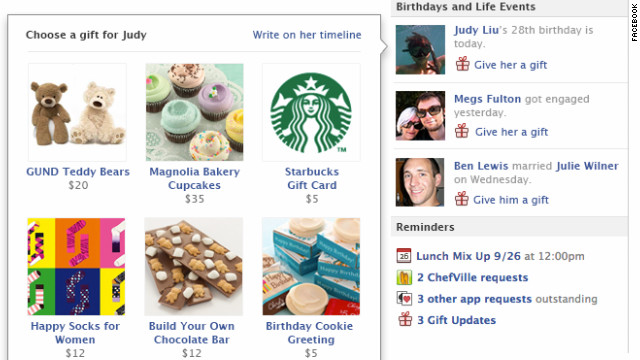 The new Facebook Gifts feature lets users click to send presents to friends. Most are below $50.