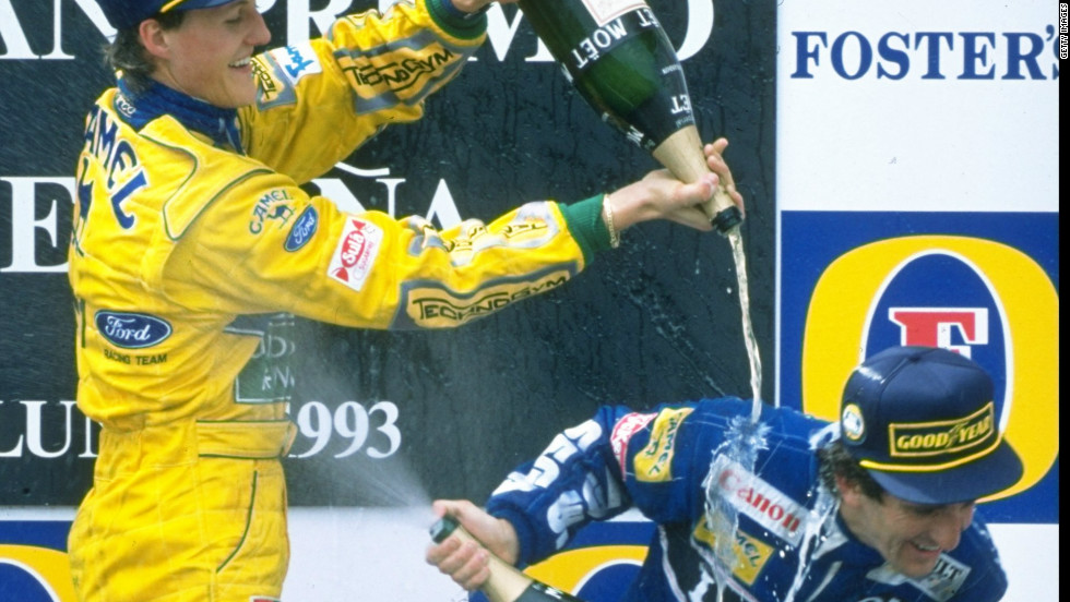 In the latter part of career Prost had to battle with the youthful exuberance of future seven-time champion Michael Schumacher.