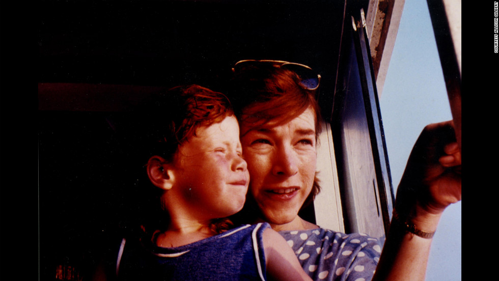 Gilbert at age 5 or 6 with her mother on a ferryboat.