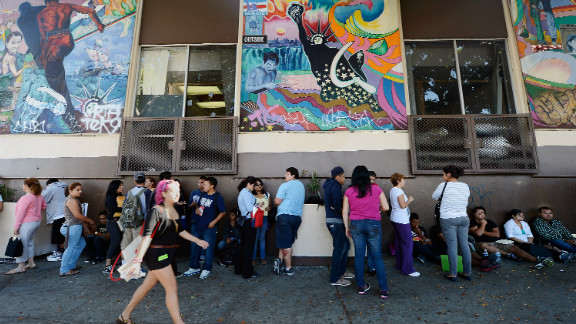 People line up in August near the Coalition for Humane Immigrant Rights of Los Angeles offices to apply for deportation reprieve.
