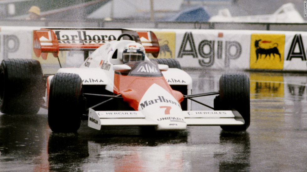 Prost competing in wet conditions at the Monaco Grand Prix which he won four times during his glittering career.