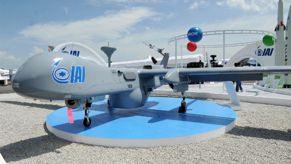 An Israel Aerospace Industries UAV on display at the Singapore Airshow on February 15.