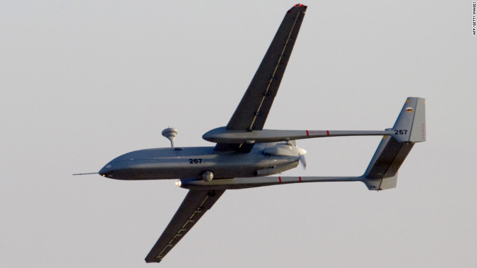An Israeli Hermes 500 UAV Flies Over The Hatzerim Air Force Base Near Beersheva Israel