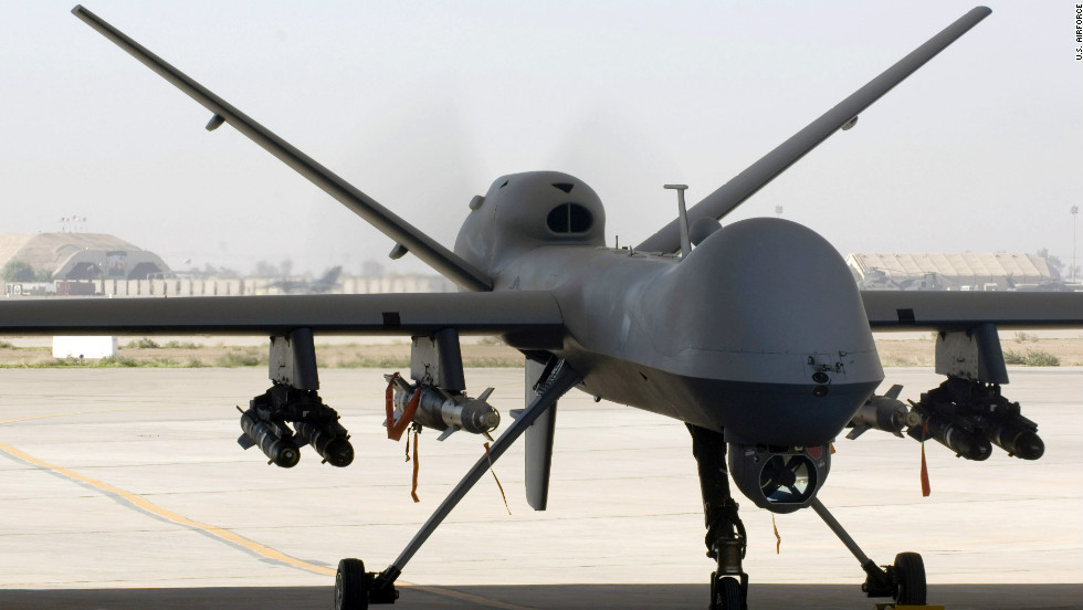 An MQ 9 Reaper Unmanned Aircraft Vehicle UAV Sits In A Shelter At