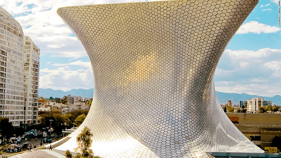 The hourglass shape of Soumaya Museum in Mexico City is completely clad in aluminum, and its seductive form houses a priceless collection of European art.