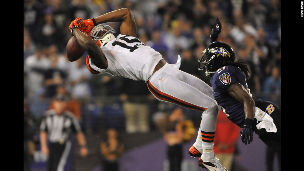 Cleveland Browns wide receiver Greg Little fails to make this catch in the end zone during the Browns' game against the Baltimore Ravens on Thursday, September 27. The Ravens defeated the Browns 23-16. It was the first game back for the regular referees after a three-week lockout.