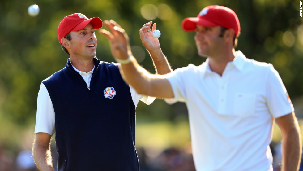 Americans Matt Kuchar and Dustin Johnson were paired in the afternoon four-ball matches on Friday.