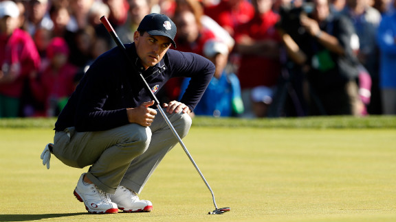 Keegan Bradley of the United States stares down a putt on Saturday.
