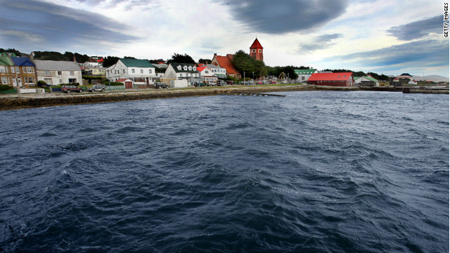 Partial view of the city from the jeety of Port Stanley in the Falkland Islands on March 18, 2007.