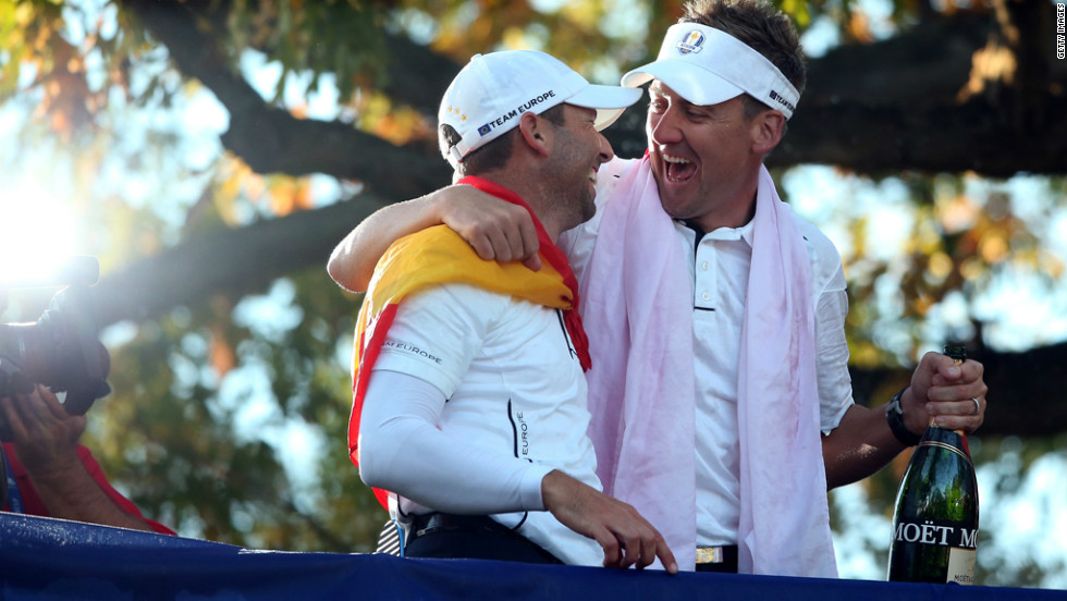 Europe's Sergio Garcia, left, and Ian Poulter celebrate Sunday.