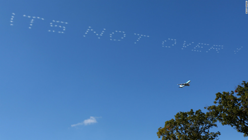 A message of support for Team Europe is written in the sky during the Sunday's single matches. The United States started the day with a seemingly insurmountable 10-6 lead.