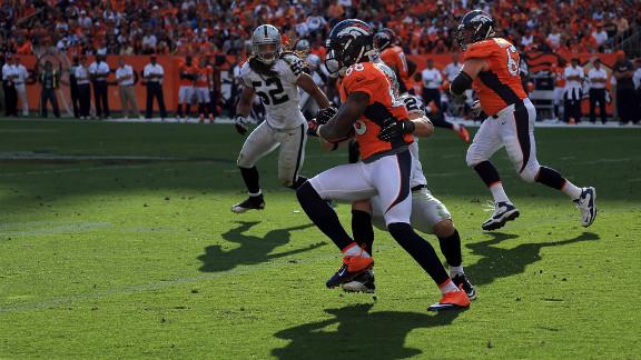 Demaryius Thomas of the Denver Broncos runs the ball Sunday against the Oakland Raiders.