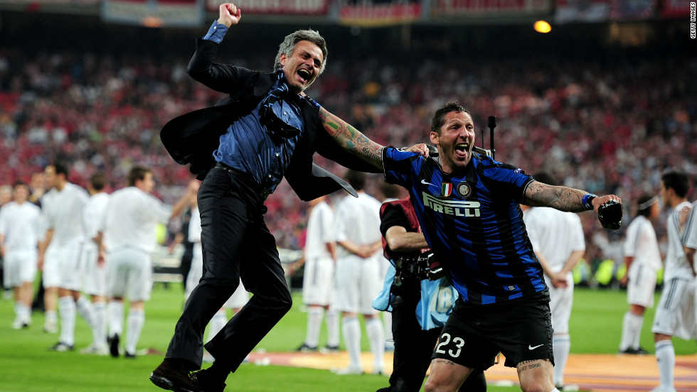 Mourinho jumps for joy after leading Inter Milan to victory in the 2010 Champions League final against Bayern Munich. It was the second time he had won the competiton after leading Porto to the title back in 2004.