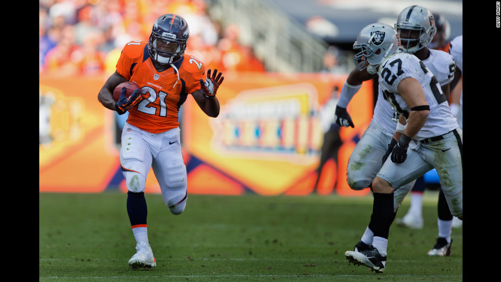 Ronnie Hillman of the Denver Broncos runs the ball during the fourth quarter Sunday against the Oakland Raiders.