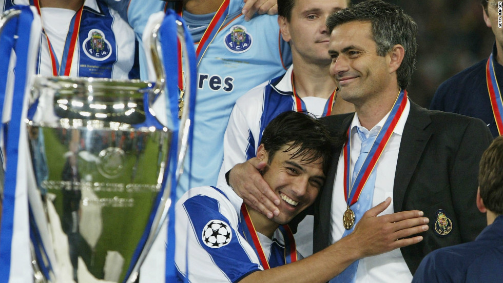 Mourinho made his name at Porto, leading the club to a shock Champions League success by beating French club Monaco in the final. The Portuguese side famously defeated Manchester United on its way to glory in 2004.