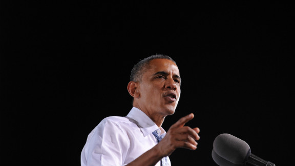President Barack Obama campaigns Sunday at a high school in Las Vegas.