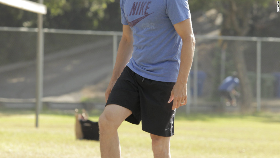 Stephen Moyer takes his daughter to play soccer in Brentwood.