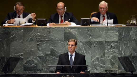 German Foreign Minister Guido Westerwelle speaks during Friday's session.