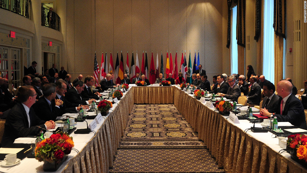 U.S. Secretary of State Hillary Clinton hosted the meeting of the Friends of the Syrian People on Friday.